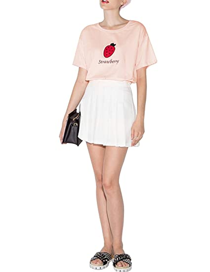 b9ce5e2ebd31bb haoduoyi Womens Sweet Short Sleeve Strawberry Embroidery T Shirts Crop Tops  (S)