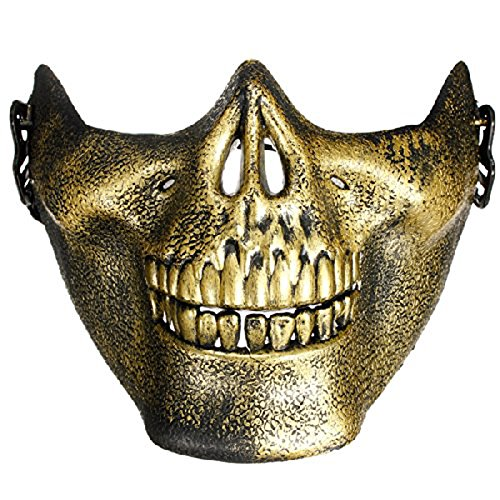 Genluna Skull Skeleton Airsoft Paintball Half Face Protect Mask Onesize Gold