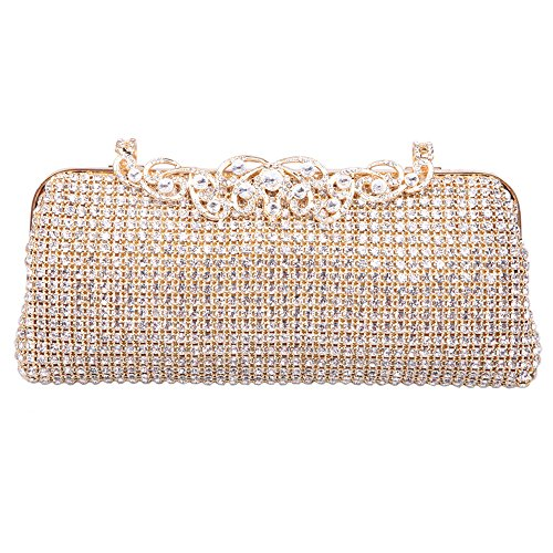 awziya Flower Clutch Purse Bling Soft Rhinestone Crystal Evening Clutch Bags-Gold
