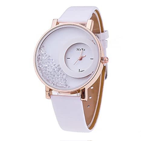 Amazon.com: Joylive Women Quicksand Wrist Watch Pu Leather Bracelet Wristwatch White: Home & Kitchen