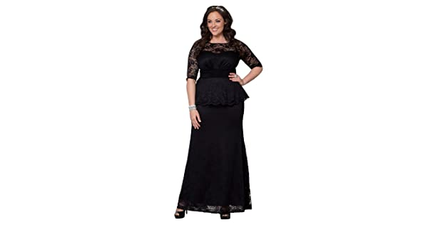 e8530153f13 Kiyonna Women s Plus Size Astoria Lace Peplum Gown 0X Black Lace Onyx Lining