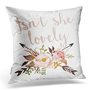 Emvency Decorative Throw Pillow Cover Square Size 18x18 Inches Boho She Lovely Baby Girl Nursery Pillowcase With Hidden Zipper Decor Cushion Gift For Home Sofa Bedroom Couch Car