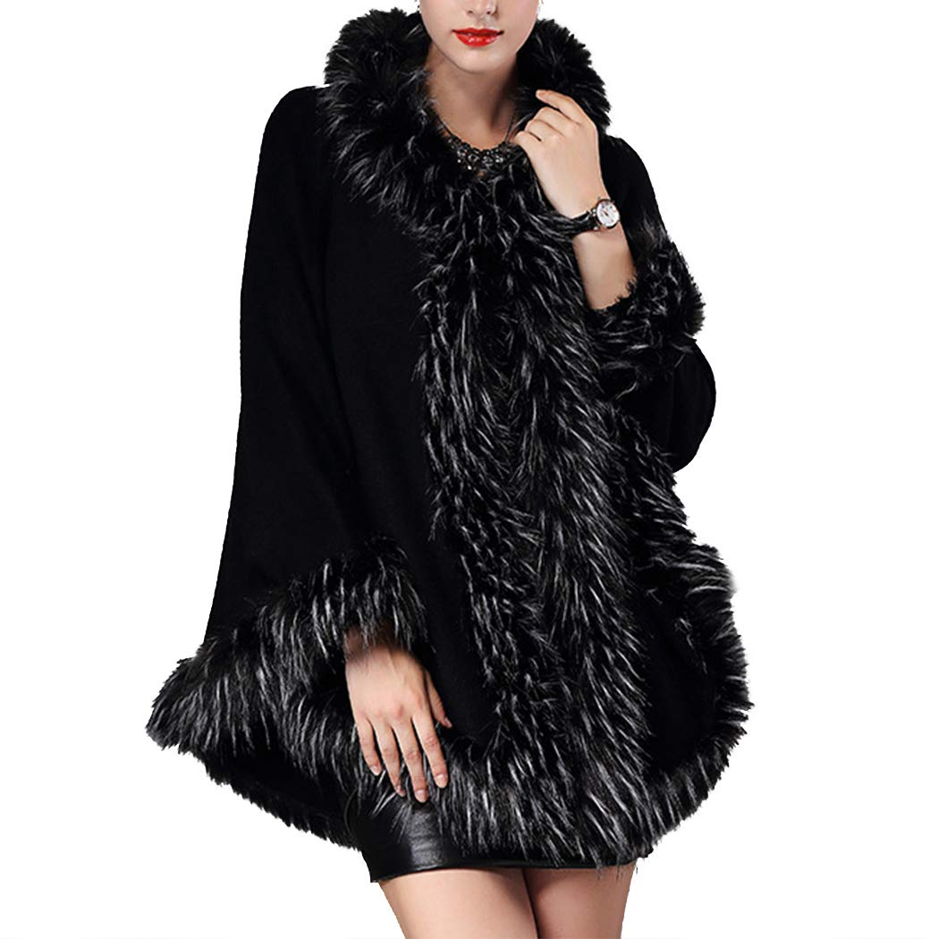 Raylans Women's Luxury Faux Fur Warm Knitted Hoodie Cape Shawl Coat