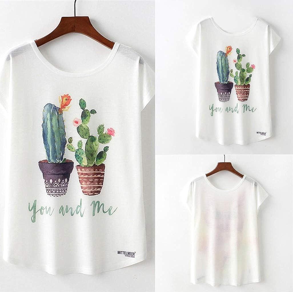 MEIbax Camisetas Mujer Manga Corta con Cuello Redondo de Impreso Floral Estampado Primavera oto/ño Causal De Tendencia T-Shirt Su/éter Camisas Sudaderas Pullover Blusa Jersey Tops