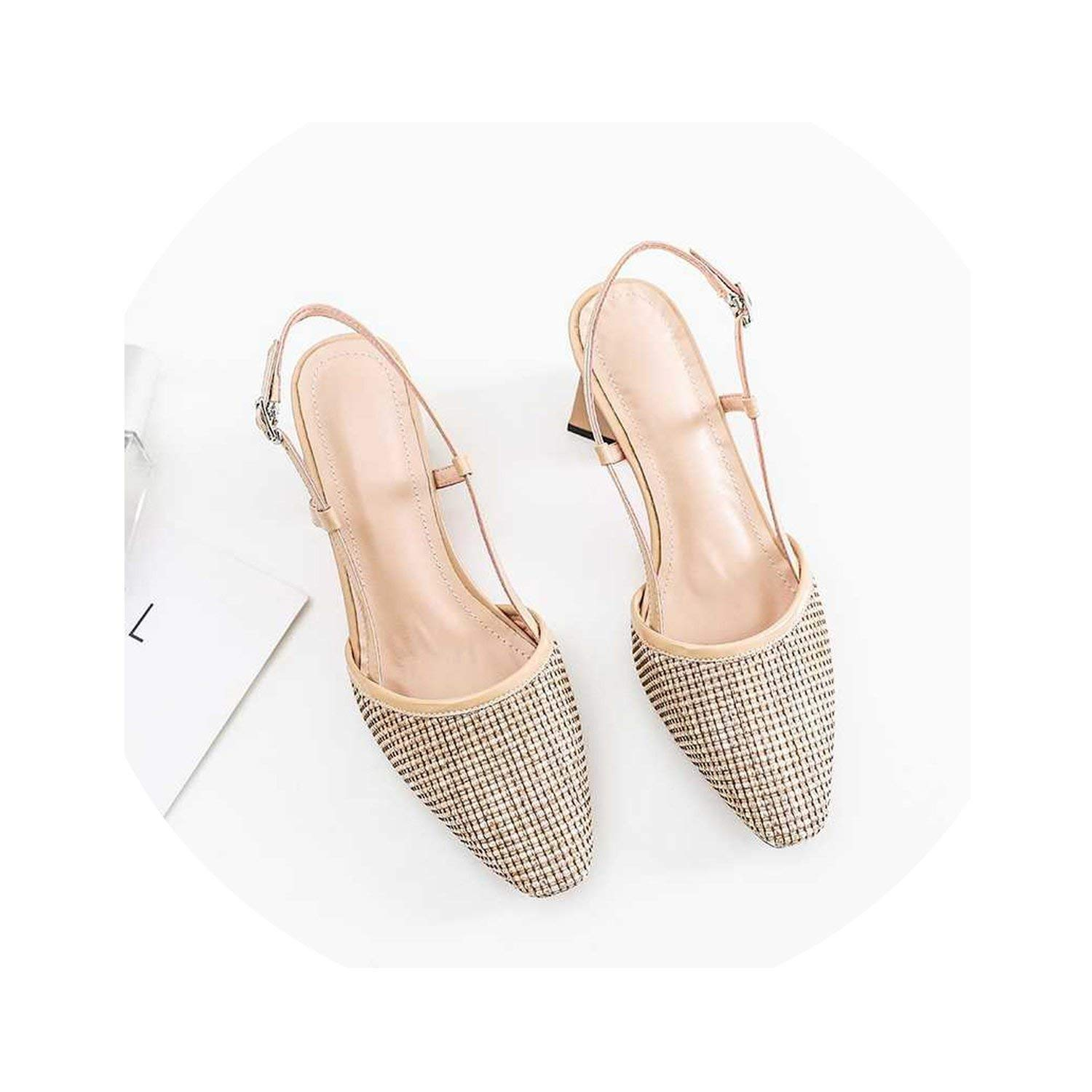 Beige I Need-You Genuine Leather Hollow Round Toe Buckle Straps Slingback Women Sandals high Heels Summer Sun Predection shoes L88