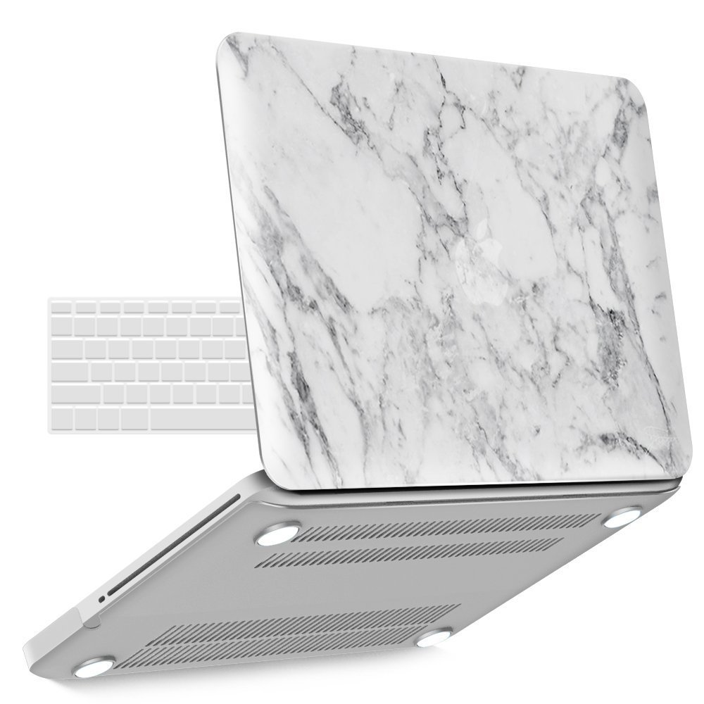 iBenzer Basic Soft-Touch Series Plastic Hard Case & Keyboard Cover for Apple MacBook Pro 13-inch 13'' with CD-ROM A1278 (Previous Generation) (White Marble)