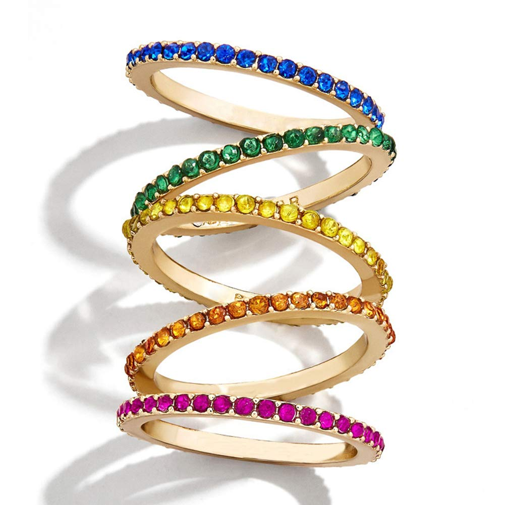 5 PCS Women's Rainbow Stackable Rings Colorful Cubic Zirconia Finger Jewelry for Girls (7) by Panjewelry