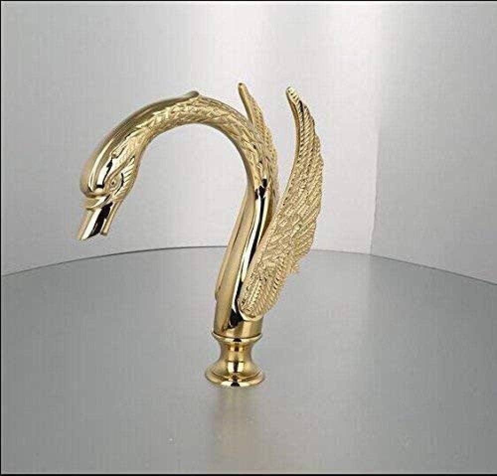 MONIK Salle De Bains Robinet Swan Forme Laiton Bassin Robinet D/évier Salle De Bains Simple Trou Centerset Robinet M/élangeur Lavabo Or Blanc Swan Robinet