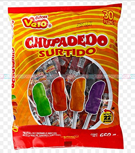 Vero Chupadedos Assorted Lollipop flavors Mexican Candy Strawberry, Pineapple, Grape, and Limon sweet and sour Flavors 30 - Count Finger Shaped edition intense tasty mexican hard caramel candy (Count Lollipops)