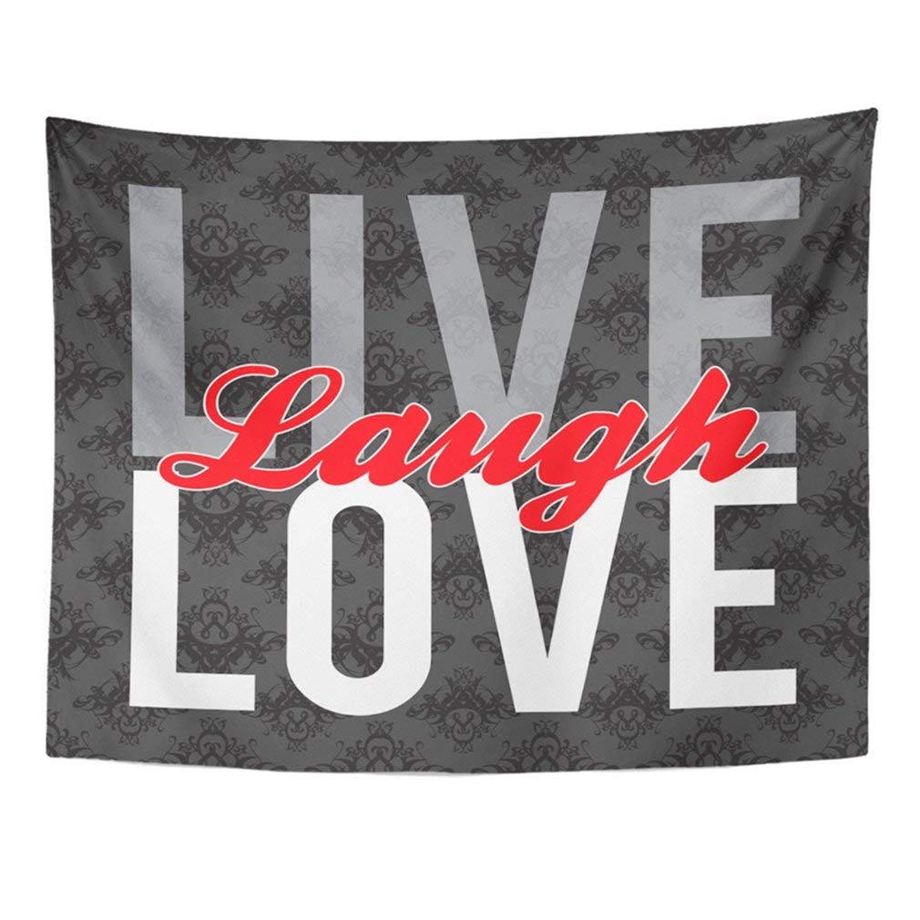 """Pejer Tapestry Wall Hanging 60""""x80"""" Laughter Typographic Montage of The Words Live Laugh Love in Format Over Life Day Print Tapestries Polyester Fabric Wall Decor"""