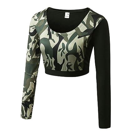 cac9826462a Amazon.com : Zhuhaitf Women's Long Sleeve Crop Top Shirt Workout Yoga Sweatshirt  Pullover : Sports & Outdoors