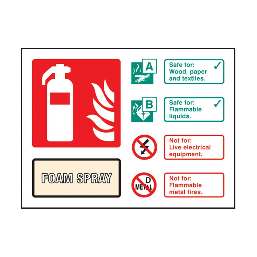 AFFF Foam Fire Extinguisher ID Sign - Self Adhesive Vinyl - 100mm x 150mm - FireShield