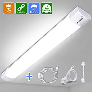 LED Shop Lights for Garage 4/2 Foot with Plug, Airand Linkable LED Tube Light 3600 LM Under Cabinet Lighting, Waterproof 5000K LED Ceiling and Closet Light 36W, Corded Electric with ON/Off Switch