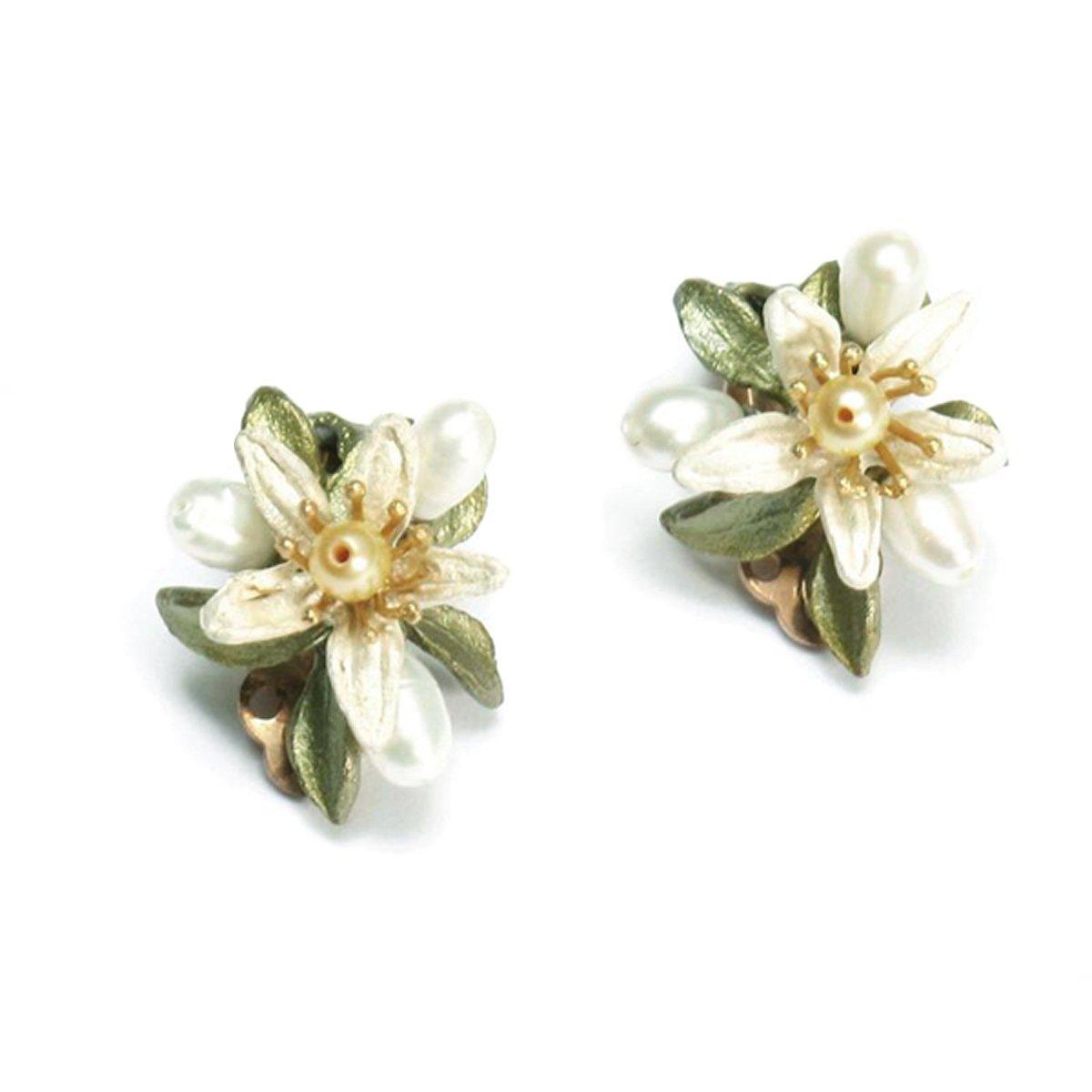 ''Orange Blossom'' Clip Earrings by Michael Michaud for Silver Seasons