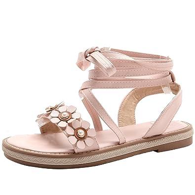 new product 5ee21 1311e Damen Offene Flache Sandalen mit Blumen Sandaletten Zum ...