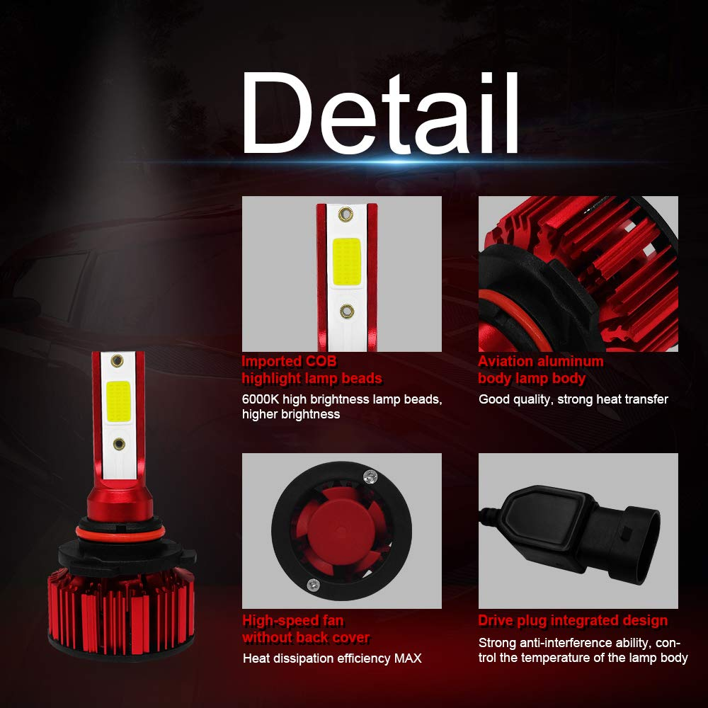 CORALTREE 2 in Pack 9005 HB3 LED Headlight Bulbs,Conversion Kits High//Low Beam,50w 6000k 6000LM Extremly Bright Xenon COB Chips 360 Degree Beam Angle IP68