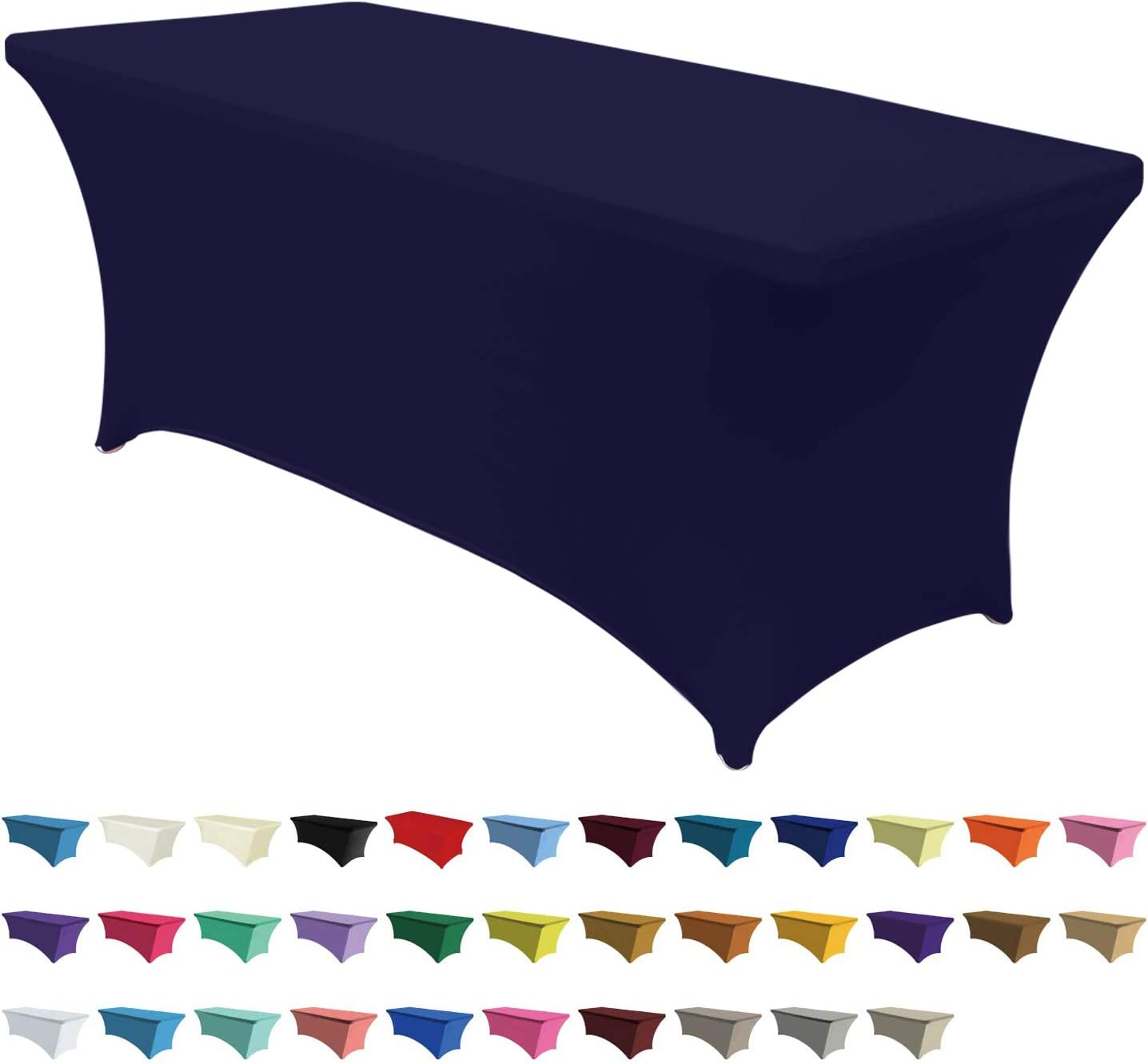 ABCCANOPY Spandex Tablecloths for 5 ft Home Rectangular Table Fitted Stretch Table Cover Polyester Tablecover Lash Bed Cover Table Toppers Massage Table Cover, Navy Blue
