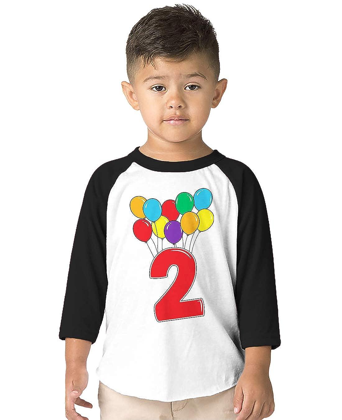 SpiritForged Apparel 2 Year Old Birthday Balloons Toddler 3//4 Raglan Shirt