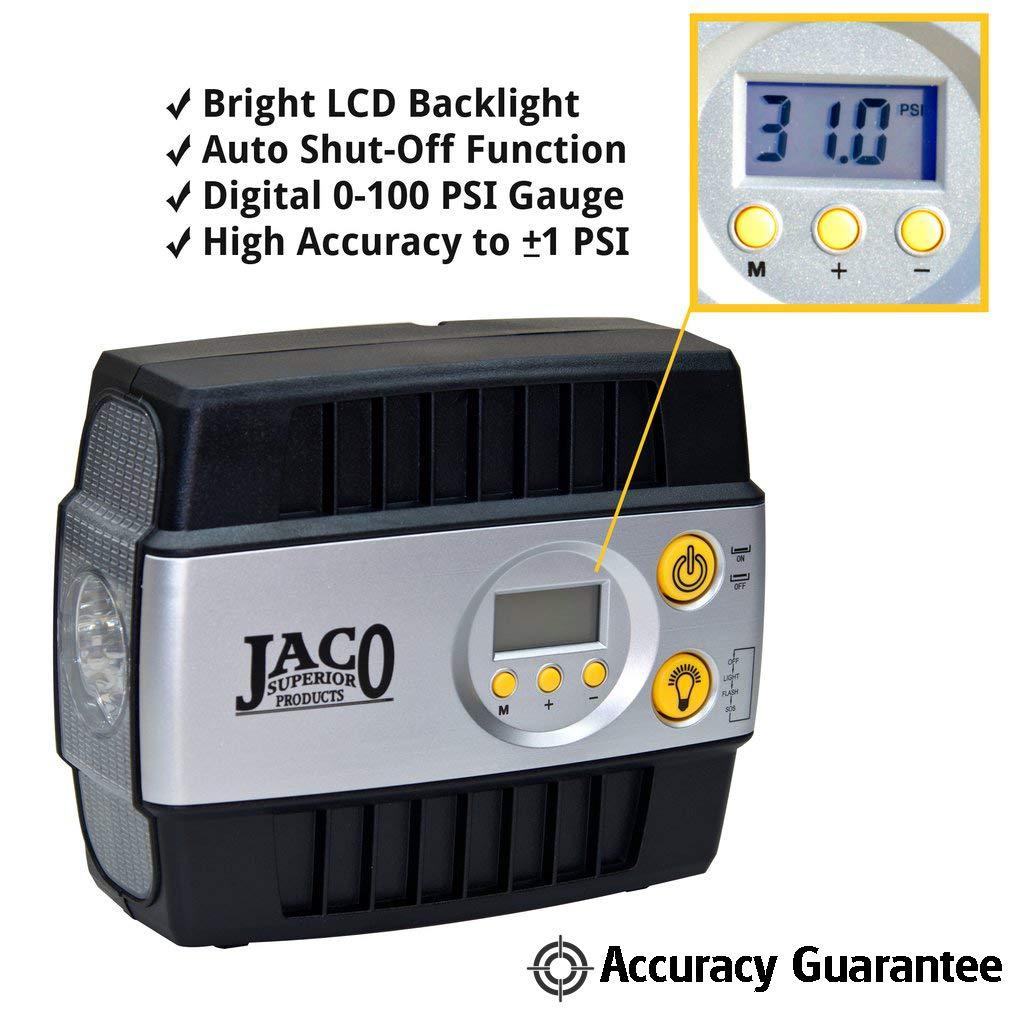 JACO SmartPro Digital Tire Inflator Pump - Premium 12V Portable Air Compressor - 100 PSI by JACO Superior Products (Image #2)