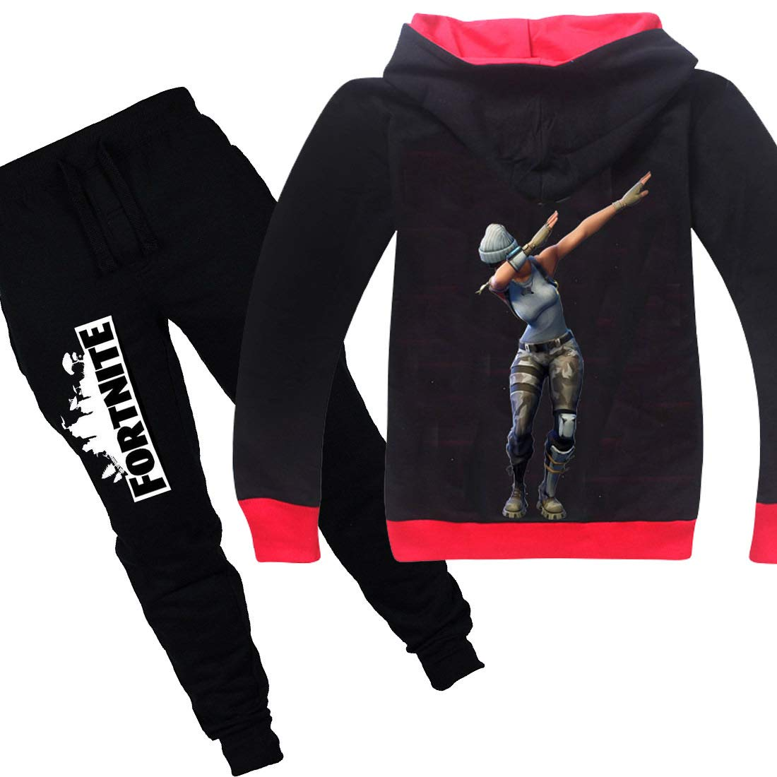 Wazonton Fortnite Zipper Hoodie Set with Long Pants Boys Girls Unisex Sweatshirt Set