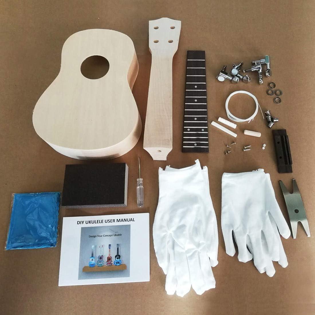 DU-B DIY Ukulele Kit Make Your Own Ukulele Soprano Hawaii Ukulele ...