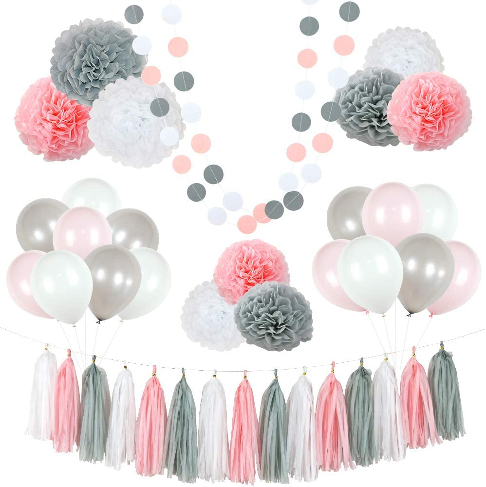 Baby Shower Pink decorations Bottle Honeycomb ball Pom Poms baby girl decorations Its a Girl
