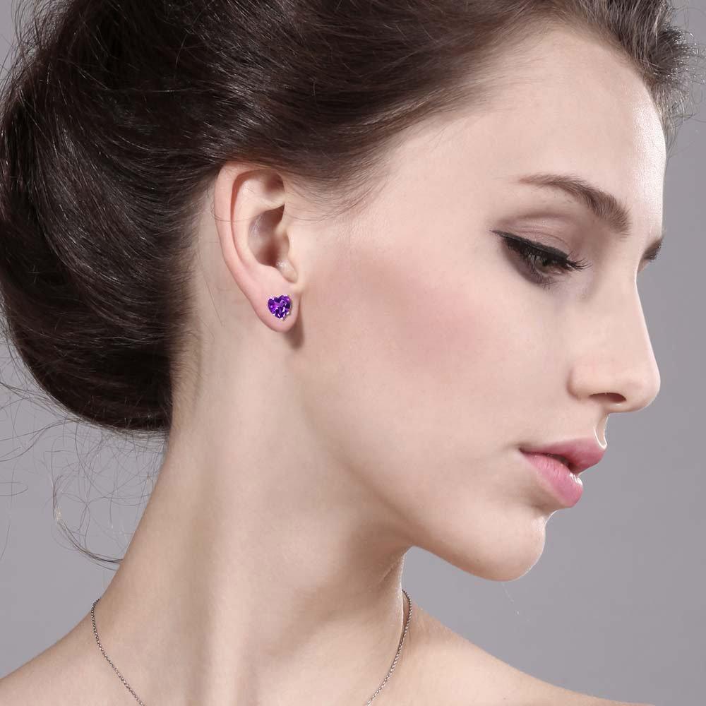 Gem Stone King 1.48 Ct Heart Shape 6mm Purple Amethyst 925 Sterling Silver Stud Earrings