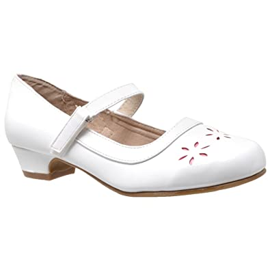 0b79c45dd947 SOBEYO Kids Dress Shoes Mary Jane Girls Low Heel Closed Toe Flowers Cut Out  Accents White