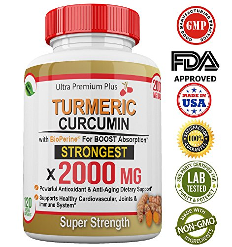 Super Strength 2000mg – Turmeric Curcumin with BioPerine (Black Pepper) Extract. 120 Fast Acting Pills – Natural Anti-inflammatory Supplement to Support The Reduction of Joint Pain & Inflammation.
