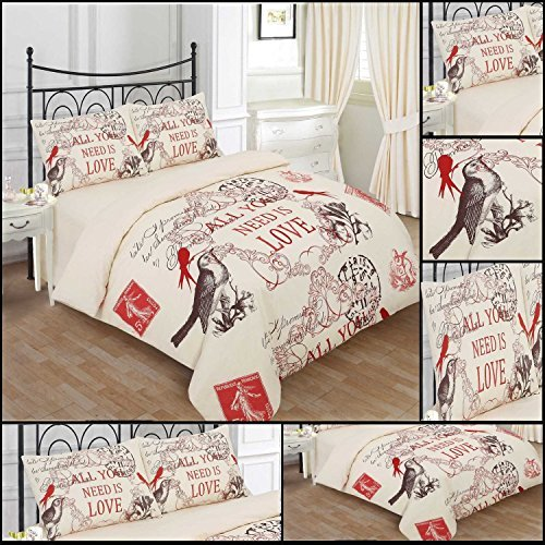 [hachette] (LS) 8PC [LOVE BIRD CREAM DOUBLE SIZE BUMPER] BEDDING BED DUVET COVER QUILT SET WITH PAIR OF CURTAINS, FITTED SHEET & PILLOWCASES CHOCOLATE CREAM RED by Hachette
