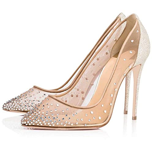 9aa8ec2fd36ac Caitlin Pan Women High Heels Pointed Toe Sexy Lace Mesh Pumps Rhinestone  Slip On Stiletto Heels