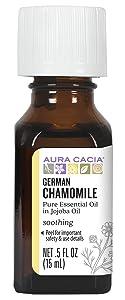 Aura Cacia German Chamomile Essential Oil (in jojoba oil)   0.5 fl. oz.   Matricaria recutita