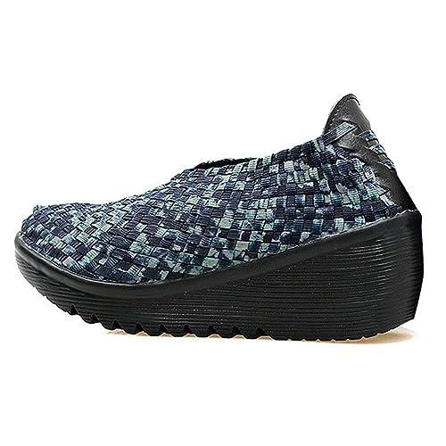 Mujeres Transpirables Zapatos Mocasines Tejidos Hechos A Mano Tejido EláStico Slip On Plataforma De Nylon CuñAs Calzado: Amazon.es: Zapatos y complementos