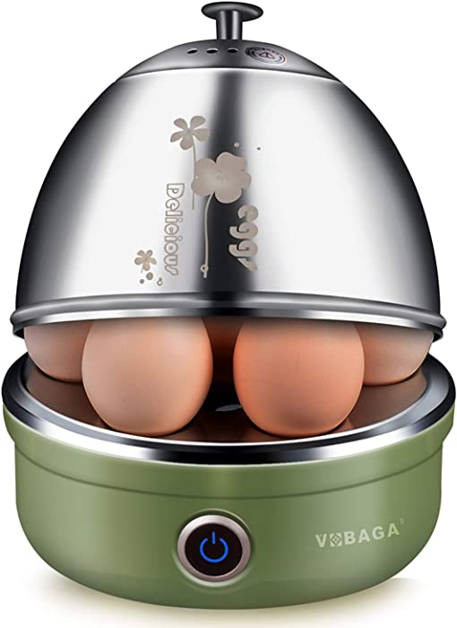 VOBAGA Electric Egg Cooker with Auto Shut-Off Stainless Steel Rack Tray Basket For Soft, Medium, Hard-Boiled Eggs, Poached, Custard & More, 7 Capacity, Retro Green