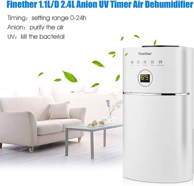 Finether-Deshumidificador de Humedad Digital , Purificador de Aire, (Portátil, Ligero, Bajo Consumo de Electricidad ...
