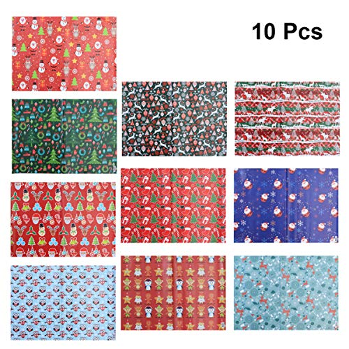 SUPVOX 10 Pcs Christmas Wrapping Paper Christmas Gift Wrap Packaging Paper Wrapping for DIY Decoration Gift Scrapbook Paper