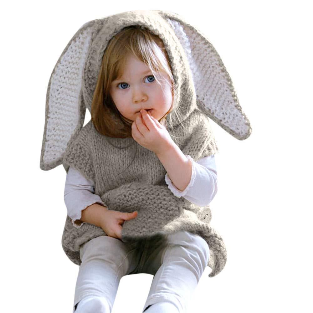 Covermason Baby Baby Mantel Winter, Mädchen Junge Kind Weste Karikatur Mit Kapuze Strick Pullover Häschenohr Tops Anna