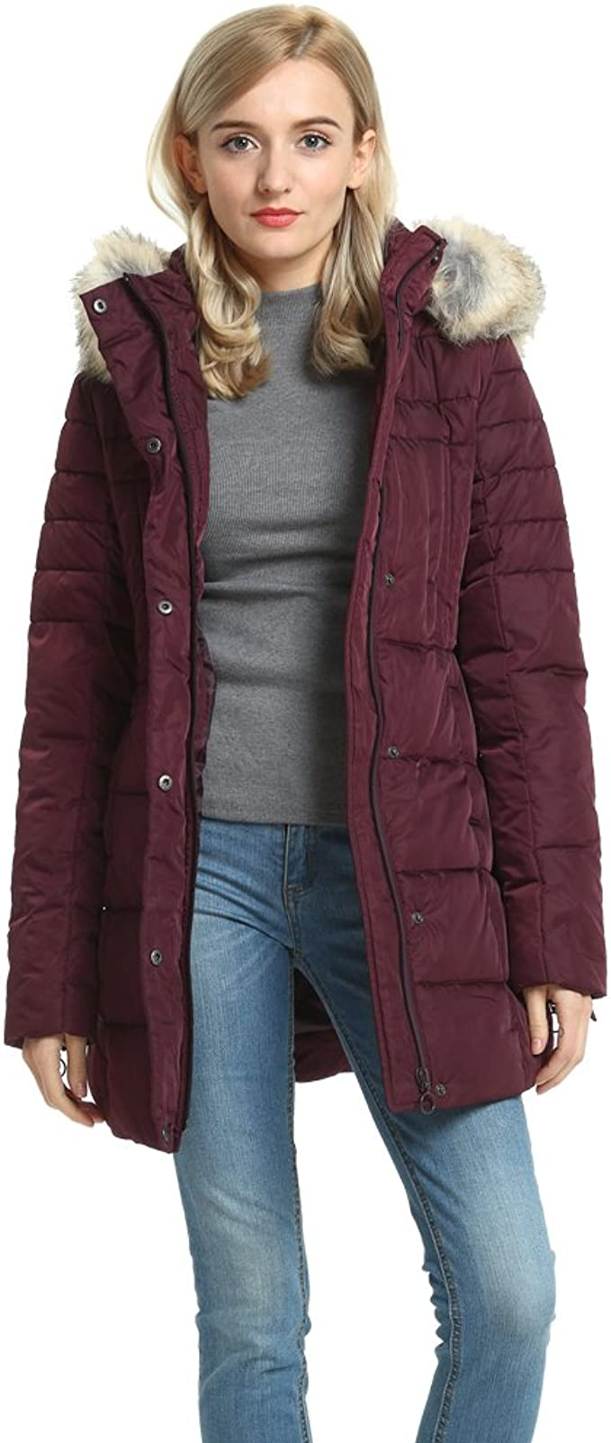Womens Quilted Jacket Fuax Fur Removable Hood Ladies Padded Puffer Coat
