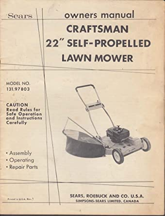 sears craftsman 22 self propelled lawn mower owners manual 1950s at rh amazon com MTD Self-Propelled Lawn Mower sears riding lawn mower owner's manual