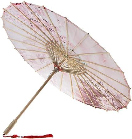 #1 D DOLITY Ombrelle Parasol Main Faite Parapluie Floral en Tissu Bambou D/élicat Parfait pour D/écor et Collection
