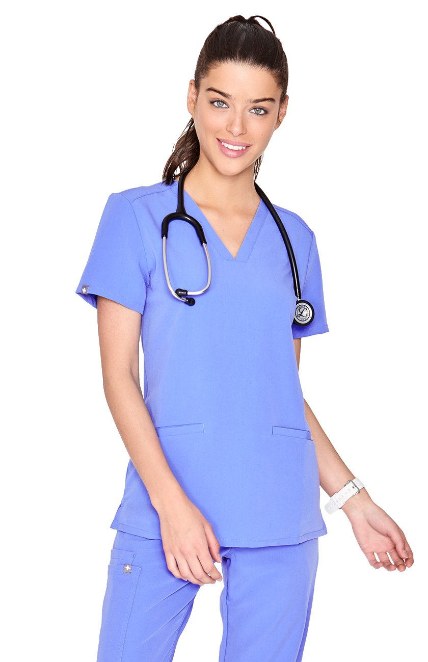 FIGS Medical Scrubs Women's Casma Three-Pocket Scrub top (Ceil Blue, M)
