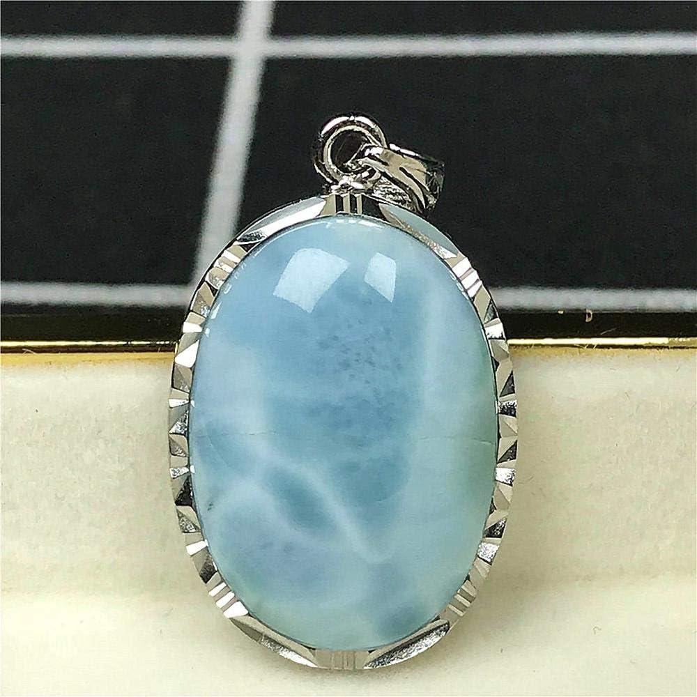 Larimar Colgante,Natural Blue Larimar Joyer/ía Para Mujer Hombre Dominica Cristal 23x17x7mm Perlas Oval Piedra Preciosa AAAAA