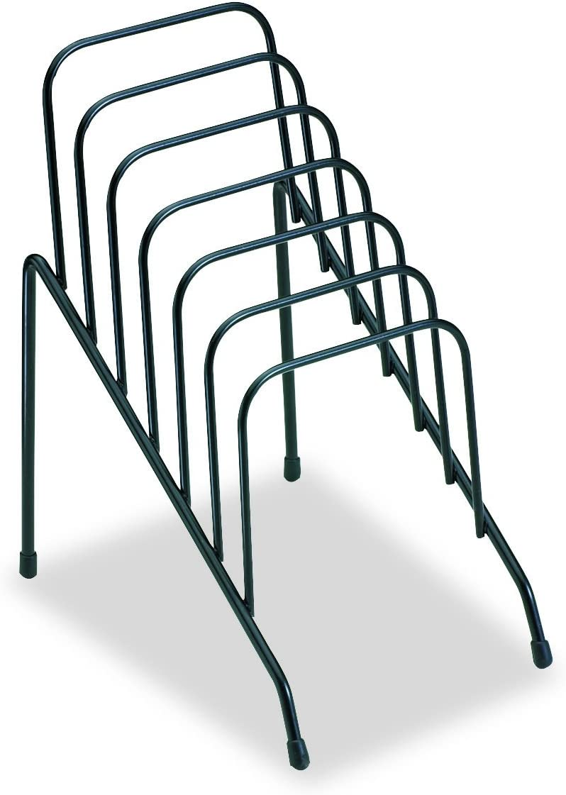 Fellowes Step File Junior Wire Organizer Rack, 6 Sections, Black (72613)