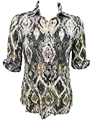 Womans Button Down Crushed 3/4 Sleeve Ikat Shirt With Foil. Super Soft Fabric.