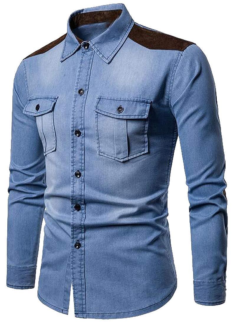 XiaoTianXinMen XTX Mens Slim Fit Denim Long Sleeve Button Up Color Block Dress Work Shirt