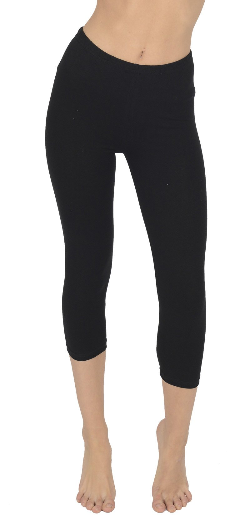 Today Is Her Women's Cropped 3/4 Soft Cotton Leggings, Plus Sizes, Extra Comfort Range - Size 12 Black
