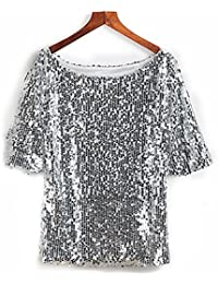 Glistening Sequin Cocktail Club Party Top Shimmer Glam Glitter Plus Size T- Shirt 475fc68ce9
