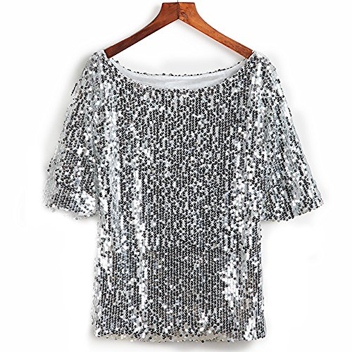 Glistening Sequin Cocktail Club Party Top Shimmer Glam Glitter Plus Size T-Shirt (Silver, XXXXL) -