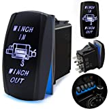 FABOOD F 7 Pin WINCH IN/OUT Momentary Rocker Switch Laser ON-OFF-ON Two LED Backlit Blue Light 20A 12V For Auto Automotive Motorcycle Truck Boat Marine Off-Road ATV Replace Kit (with Jumper Wire )