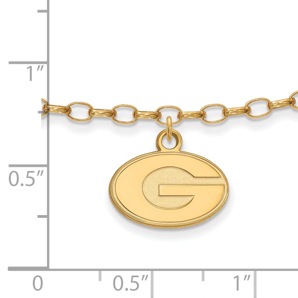 with Secure Lobster Lock Clasp 2.5mm Jewel Tie 925 Sterling Silver with Gold-Toned University of Georgia Anklet 9